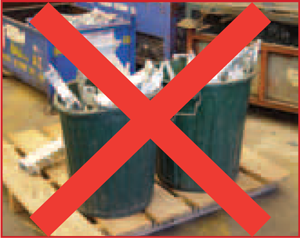 Plastic rubbish bins are unsuitable for the transporting of heavy steel items. The side of the bin splits open.