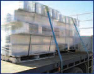 Steel items should be suitably and securely strapped (and/or wrapped) when being transported on pallets.