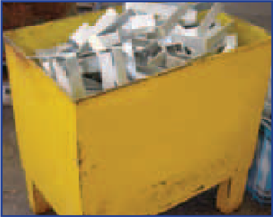 Solid metal bins can accommodate the weight of steel items, are easily transported and can improve manual handling procedures.